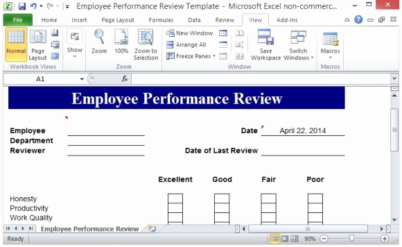 Employee Performance Review Template Word Inspirational Free Performance Review Template form for Word 2007