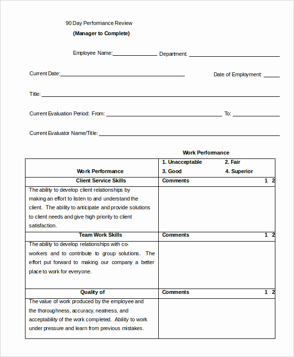 Employee Performance Review Template Word Unique Performance Review Example 9 Free Word Excel Pdf