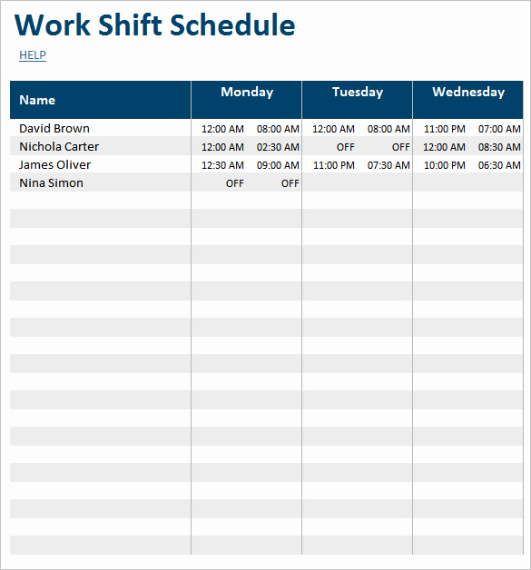 Employee Shift Schedule Template Awesome 55 Schedule Templates & Samples Word Excel Pdf
