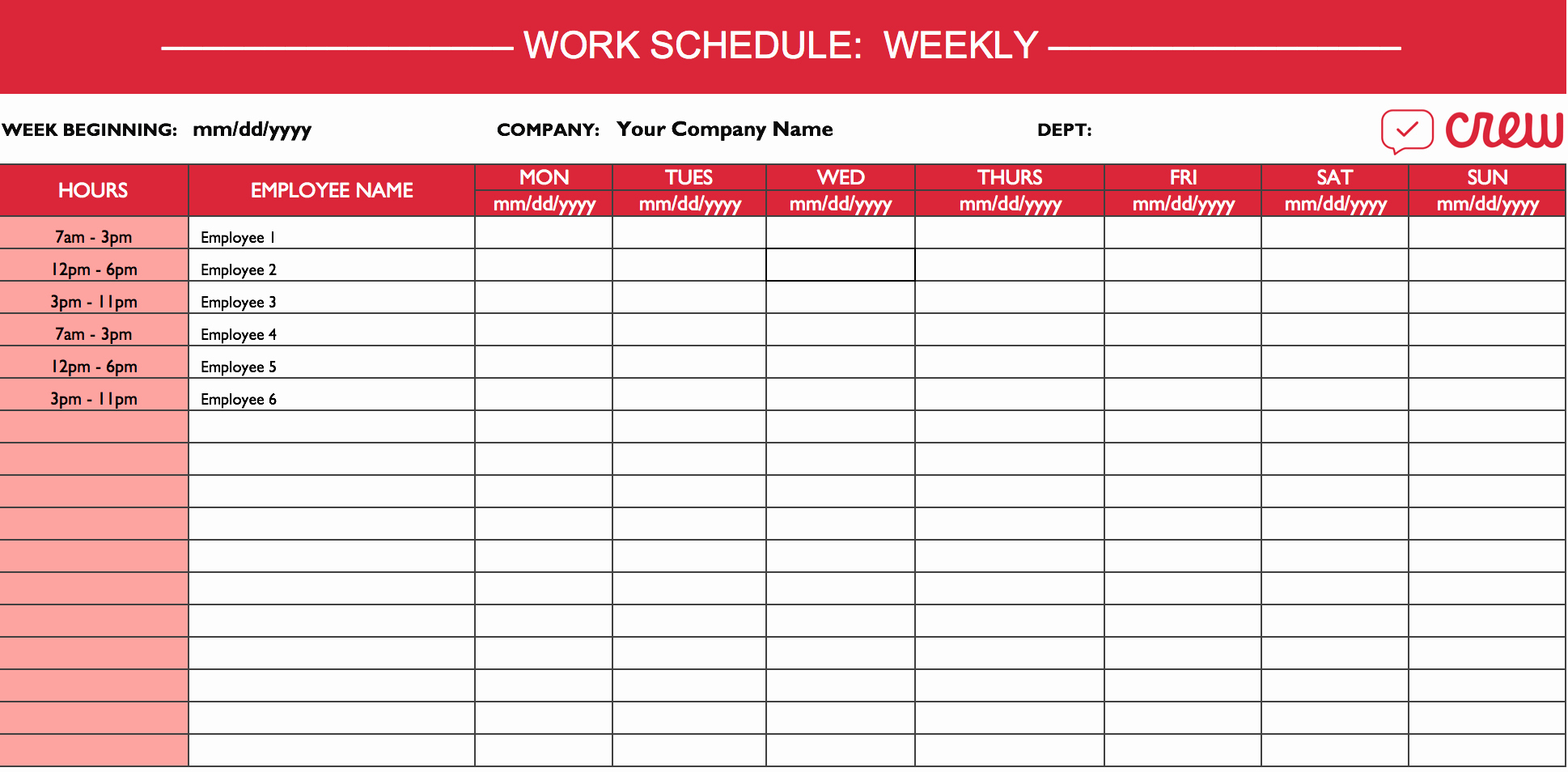 Employee Shift Schedule Template Beautiful Weekly Work Schedule Template I Crew
