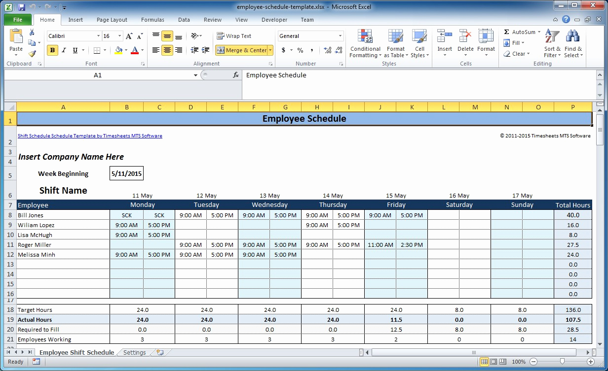 Employee Shift Schedule Template Best Of Free Employee and Shift Schedule Templates