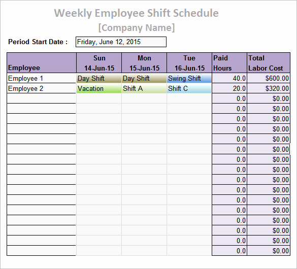 Employee Shift Schedule Template Elegant Work Schedule Templates – 9 Free Word Excel Pdf format