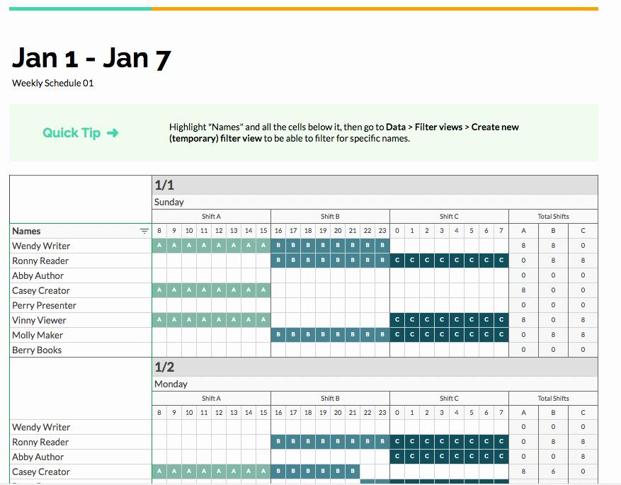 Employee Shift Schedule Template Fresh Google Sheets Employee Shift Schedule Template