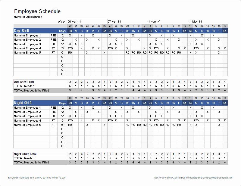 Employee Shift Schedule Template Inspirational Employee Schedule Template