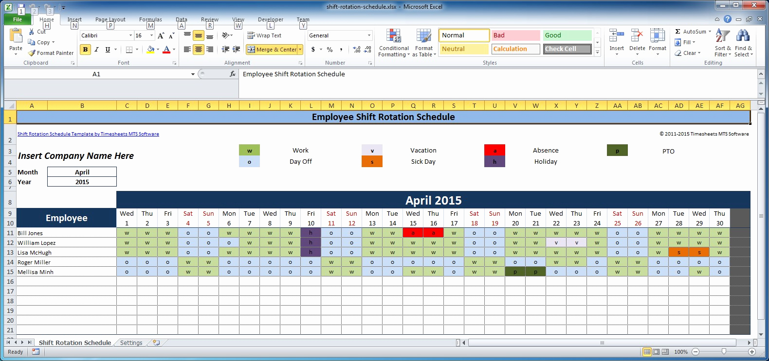 Employee Shift Schedule Template Inspirational Free Employee and Shift Schedule Templates
