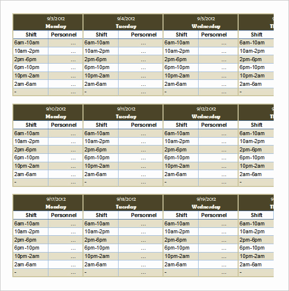 Employee Shift Schedule Template New 55 Schedule Templates & Samples Word Excel Pdf