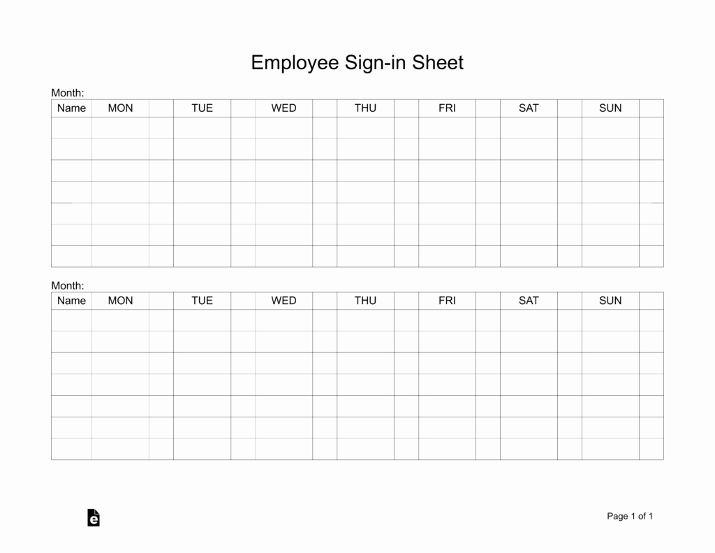 Employee Sign In Sheet New Two Week Employee Sign In Sheet Template