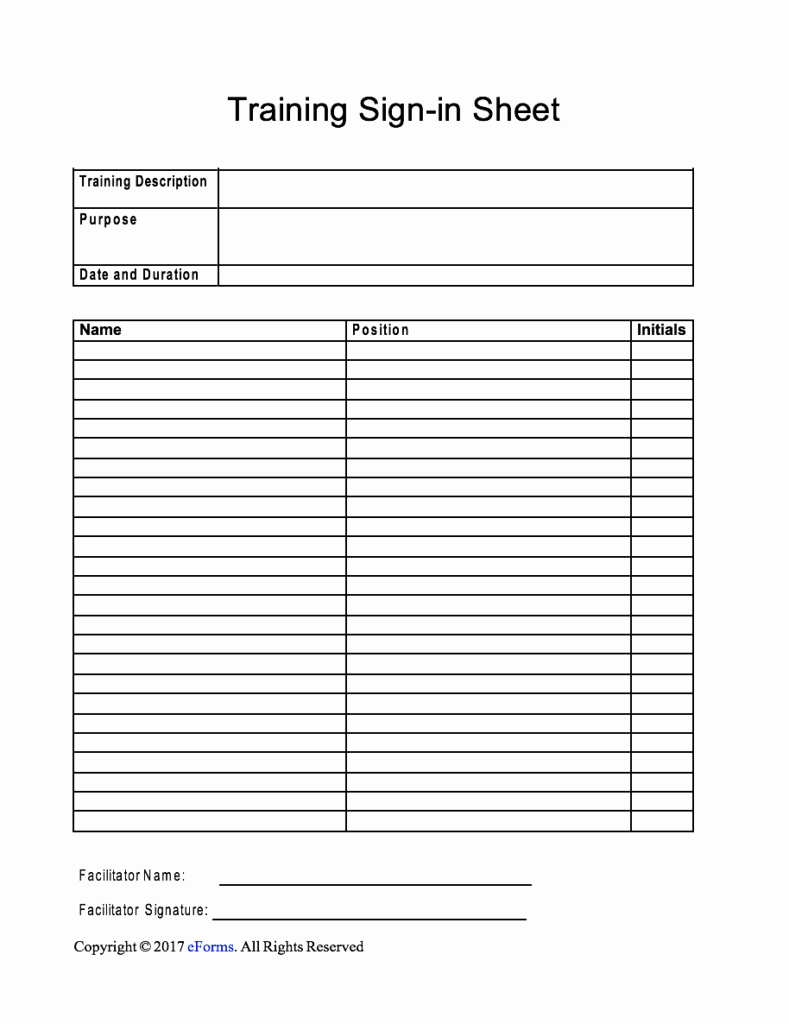 Employee Sign In Sheet Template Inspirational Training Sign In Sheet Template