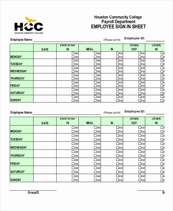 Employee Sign In Sheets Fresh Employee Sign In Sheets 8 Free Word Pdf Excel