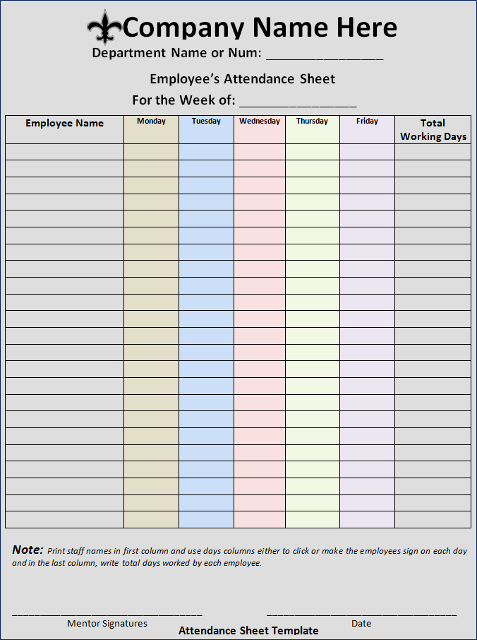 Employee Sign In Sheets Fresh Excellent Employee attendance Sheet Template Example with
