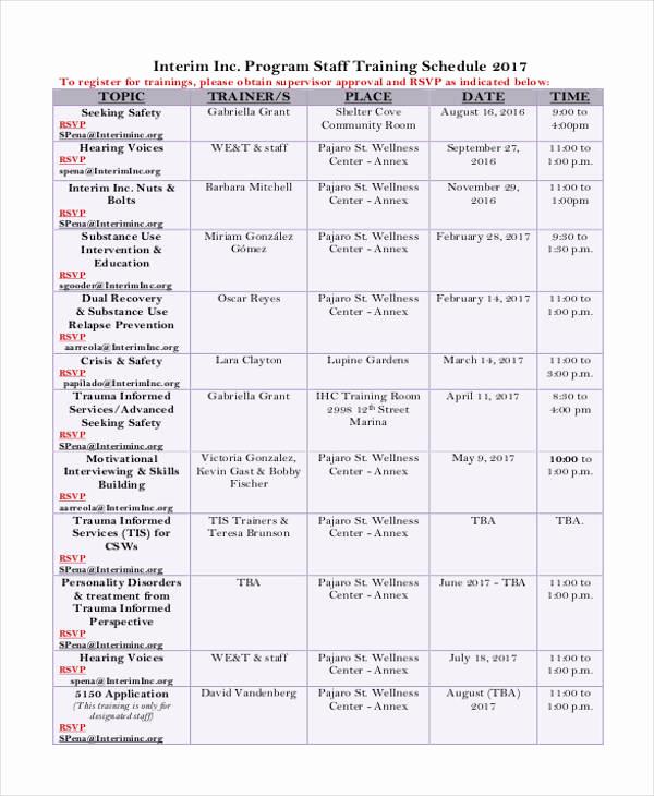Employee Training Plan Template Beautiful 13 Employee Training Schedule Template Free Sample