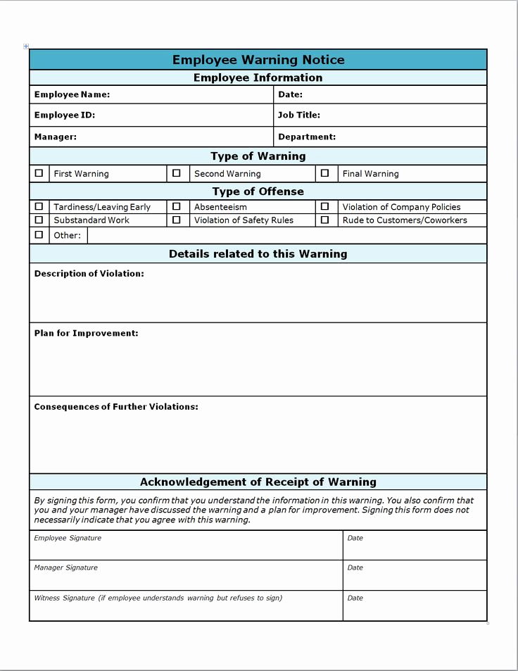 Employee Write Up form Pdf Awesome Employee Write Up form Projects to Try