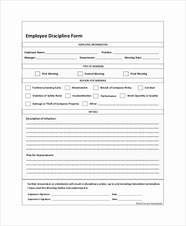 Employee Write Up form Pdf New Employee Discipline form 6 Free Word Pdf Documents