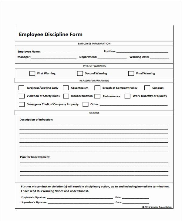 Employee Write Up Sample Elegant 7 Employee Discipline form Samples Free Sample Example