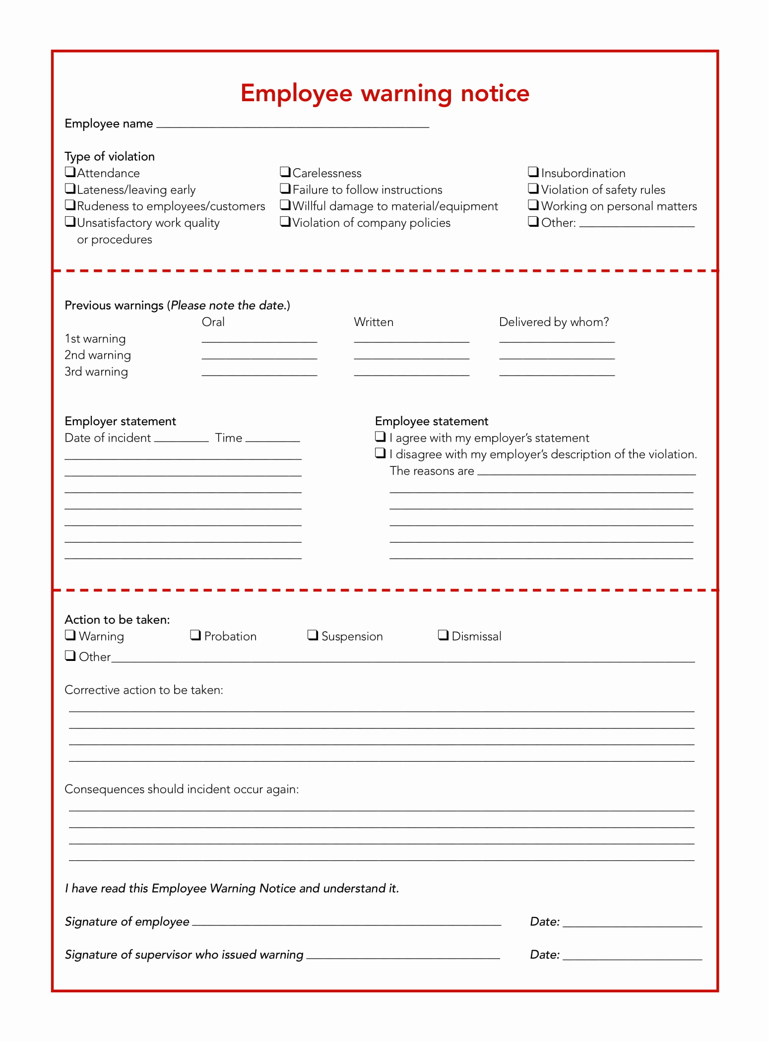 Employee Write Up Sample Lovely 5 Restaurant Employee Write Up forms Pdf