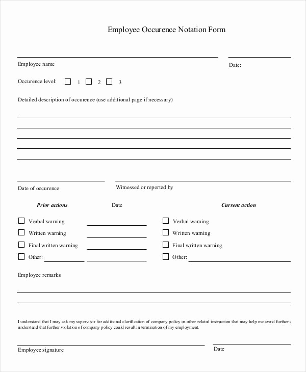 Employee Write Up Templates Fresh Employee Write Up form 6 Free Word Pdf Documents
