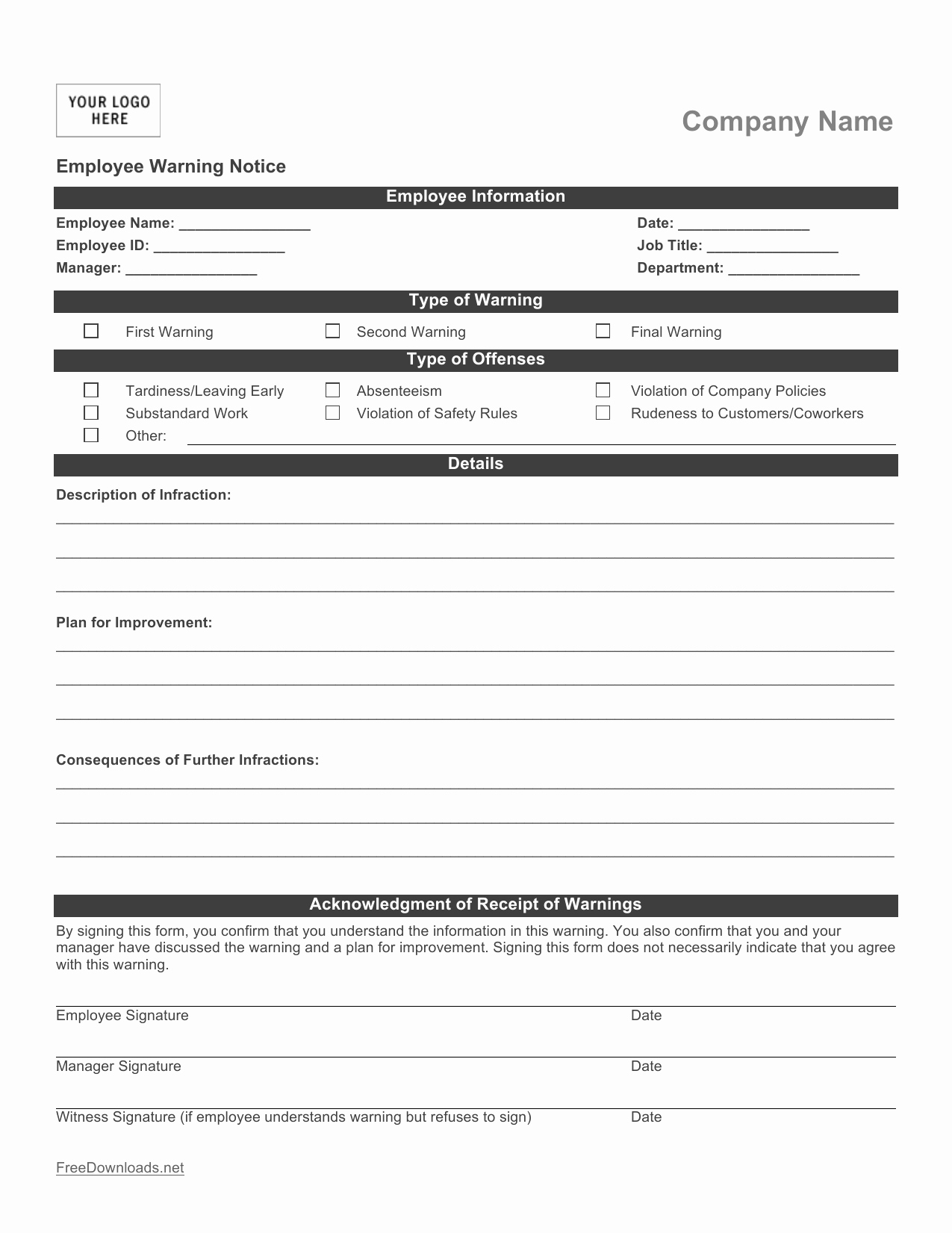 Employee Write Up Templates Inspirational Download Employee Write Up form Pdf Rtf