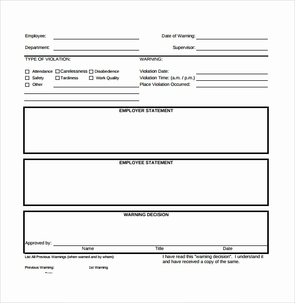 Employee Write Up Templates New Free Employee Write Up form Printable Excel Template