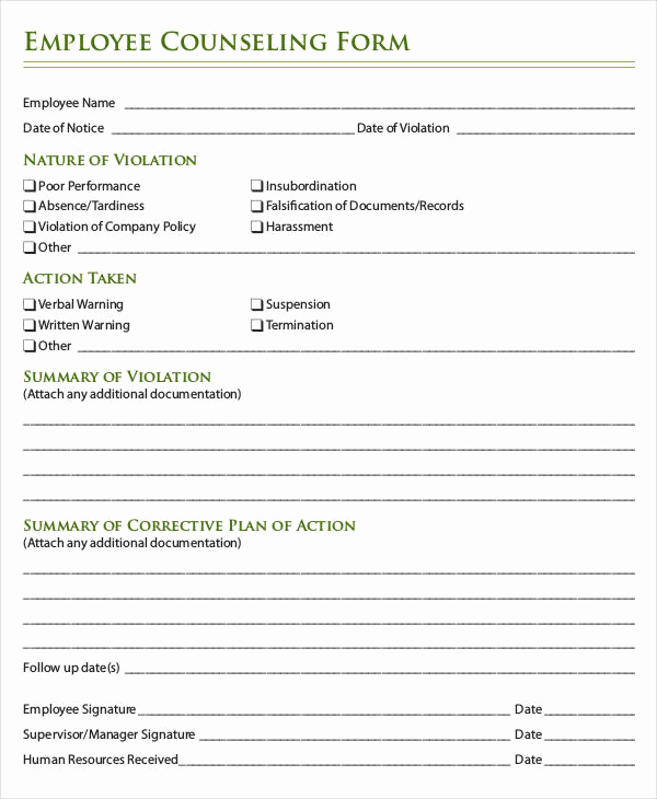 Employee Write Up Templates Unique Employee Write Up form 6 Free Word Pdf Documents