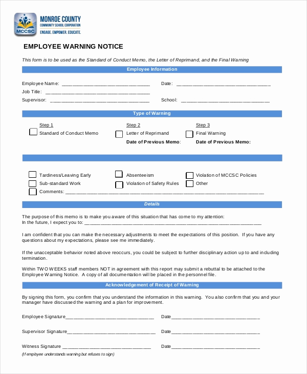 Employee Written Warning form Awesome 12 Printable Employee Warning Notice Templates Google
