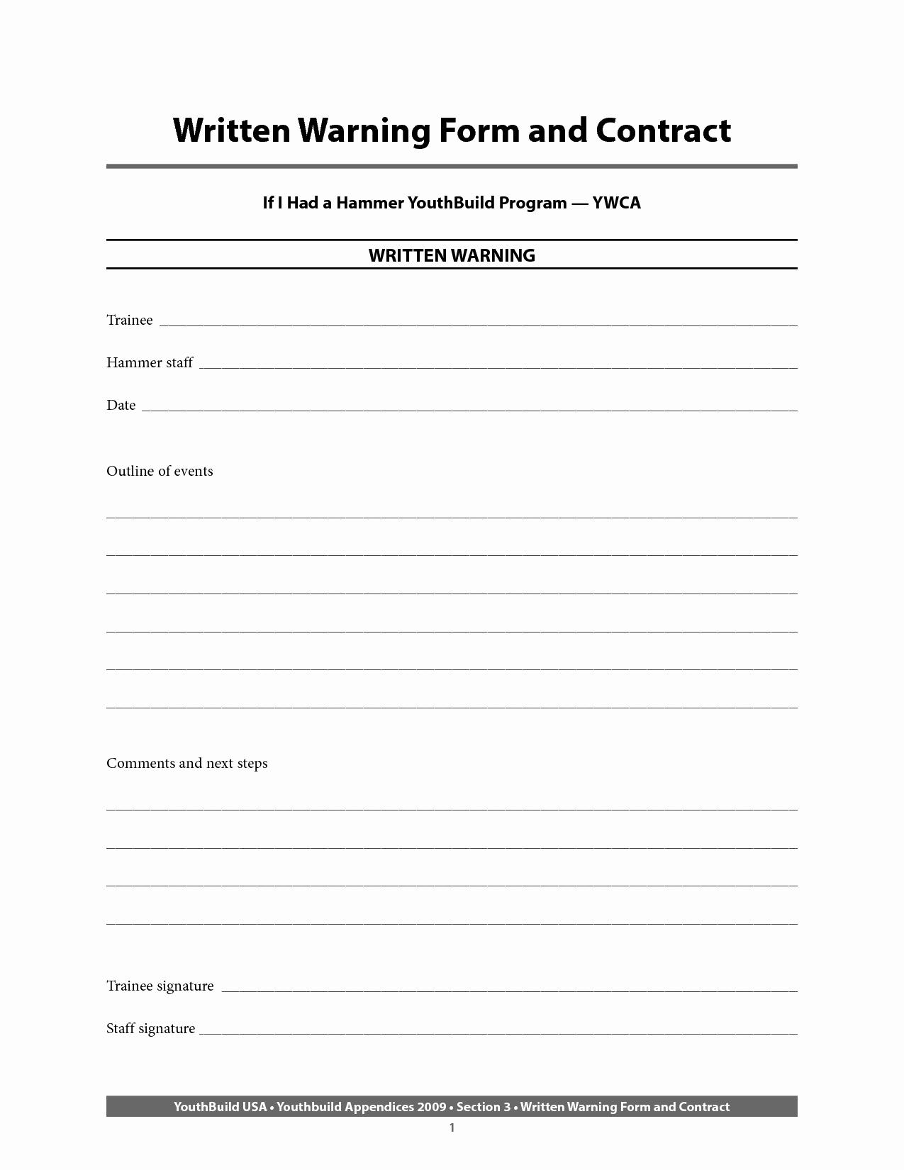 Employee Written Warning form Awesome Employee Written Warning form