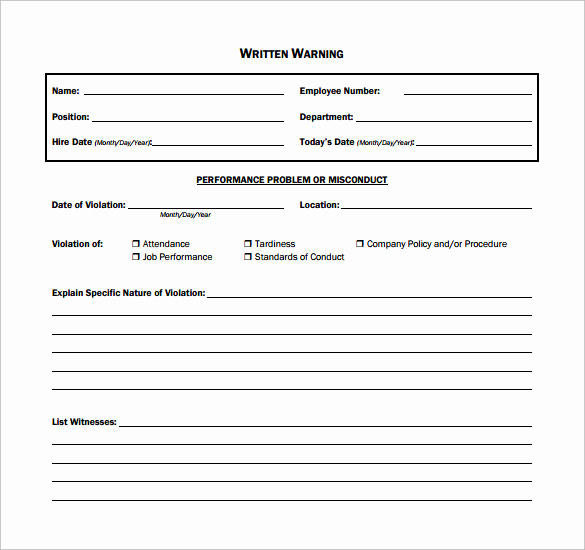 Employee Written Warning form Elegant 11 Written Warning Templates Pdf