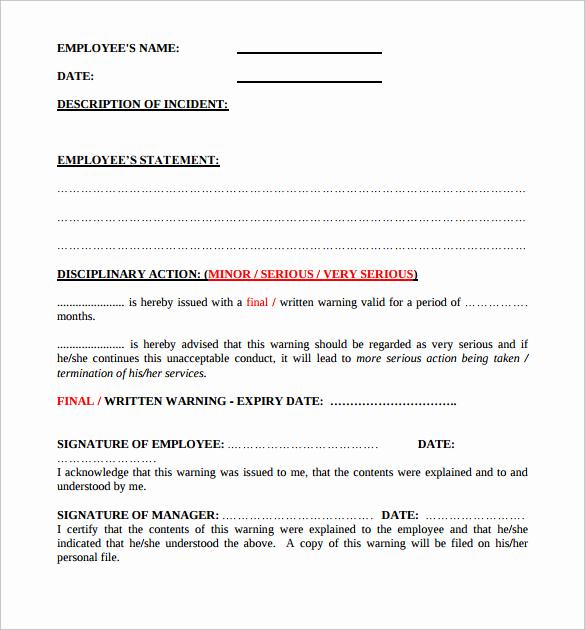 Employee Written Warning form Luxury 11 Written Warning Templates Pdf