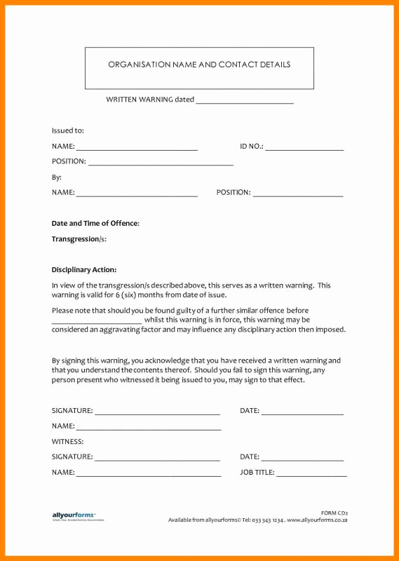 Employee Written Warning form Unique Employee Disciplinary Action form