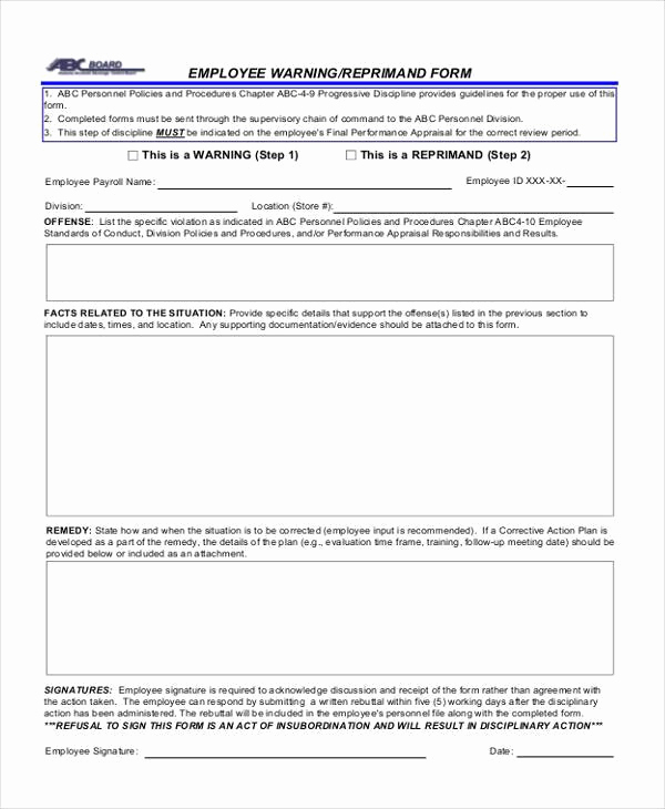 Employee Written Warning form Unique Sample Employee Warning forms 9 Free Documents In Word Pdf