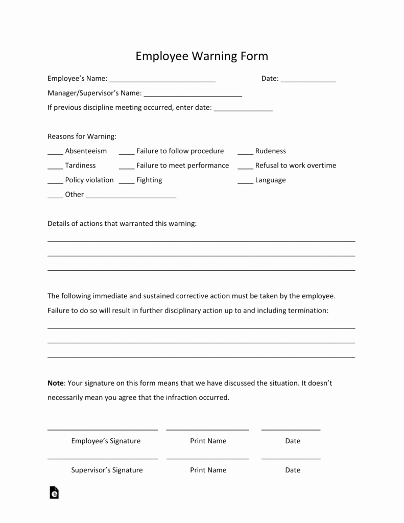 Employee Written Warning Template Free Awesome Free Employee Warning Notice Template Pdf