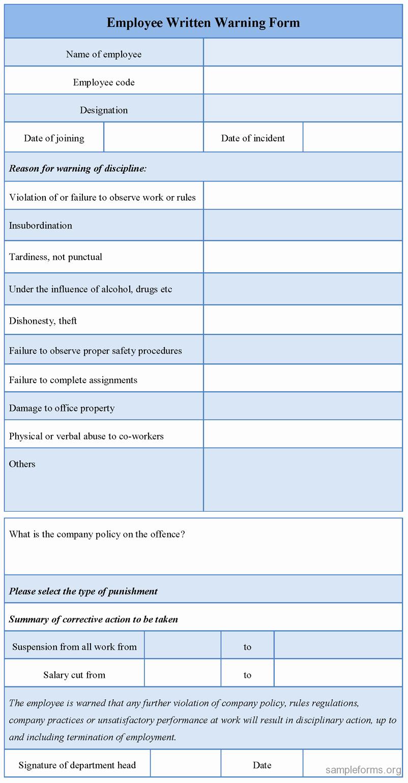 Employee Written Warning Template Free Best Of Employee Written Warning form Sample forms