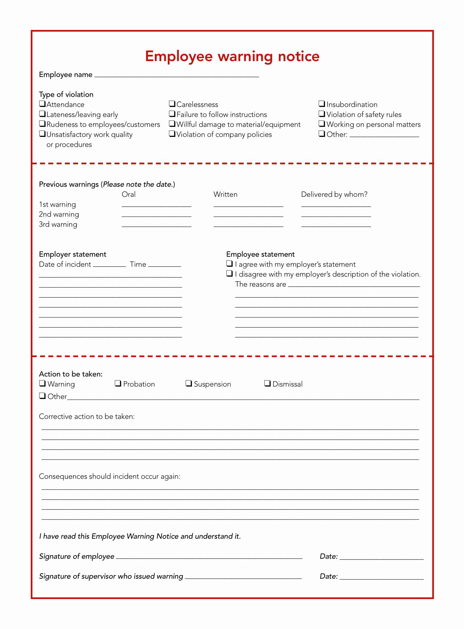 Employee Written Warning Template Free Elegant 5 Restaurant Employee Write Up forms Pdf