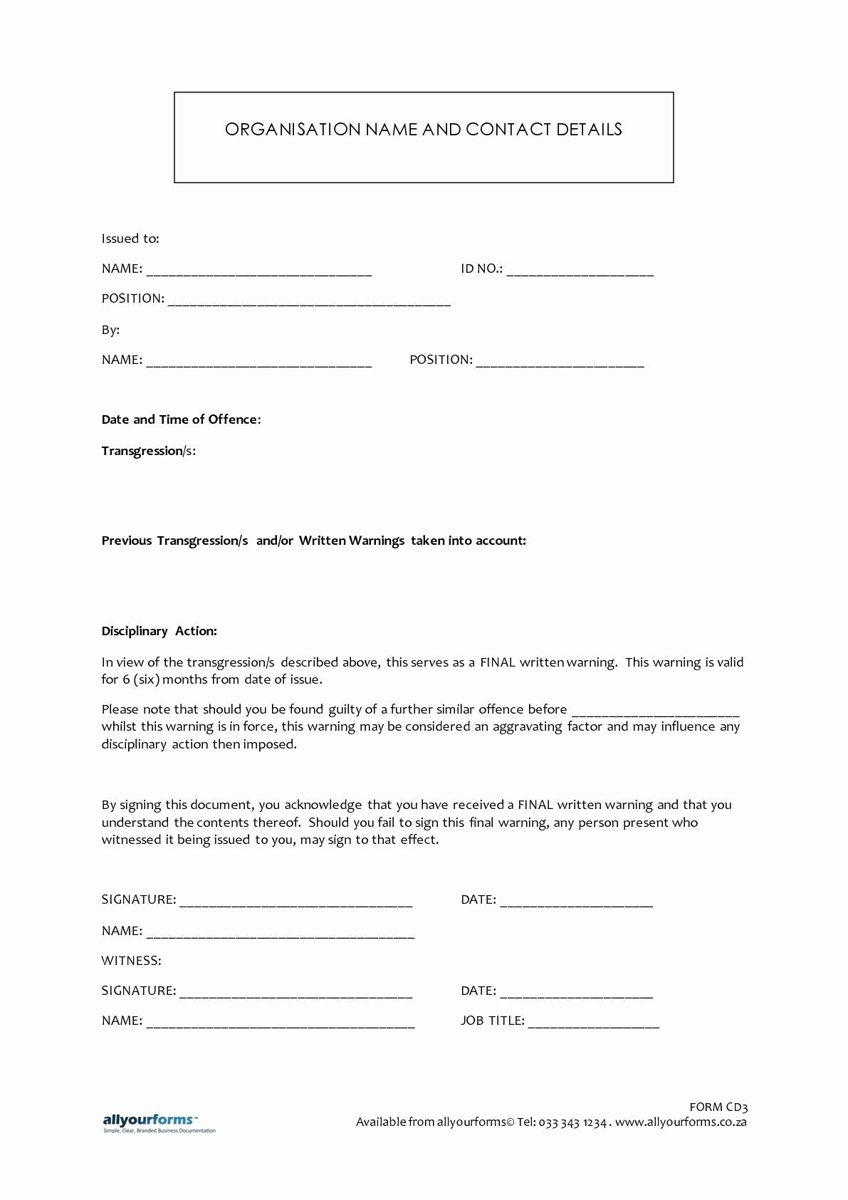 Employee Written Warning Template Free Elegant Final Written Warning Letter to Employee