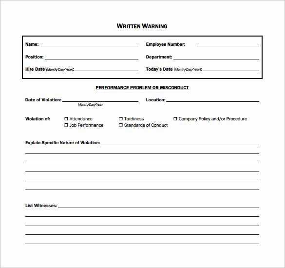 Employee Written Warning Template Free Lovely 11 Written Warning Templates Pdf