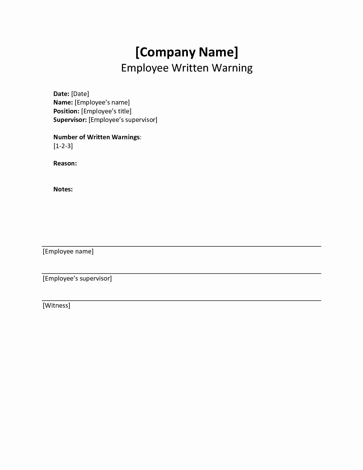 Employee Written Warning Template Free Lovely Written Warning Template