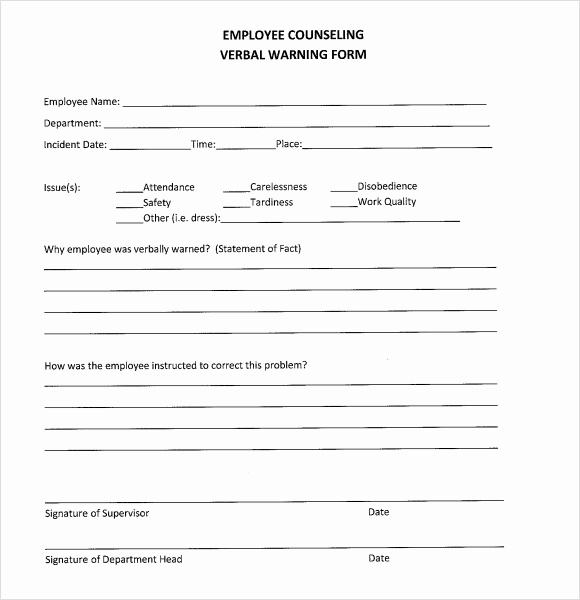 Employee Written Warning Template Free New 10 Verbal Warning Templates Pdf Word Apple Pages