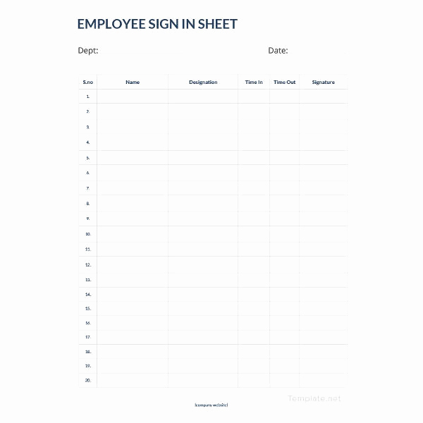 Employees Sign In Sheet Awesome 75 Sign In Sheet Templates Doc Pdf