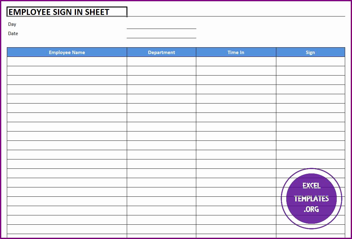 Employees Sign In Sheet Awesome Employee Sign In Sheet Template Excel Templates