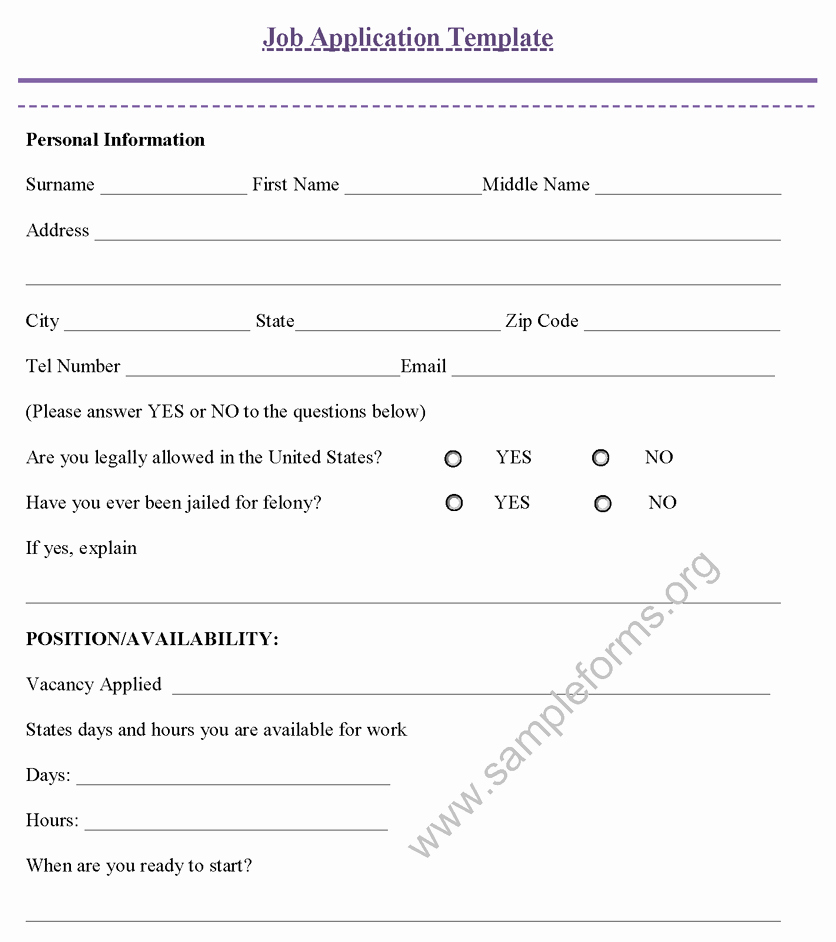 Employment Application Template Microsoft Word Best Of Job Application Template Sample forms