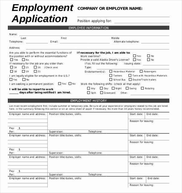 Employment Application Template Microsoft Word Unique Job Application Template – 10 Free Word Pdf Documents