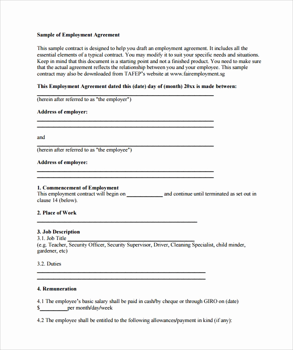 Employment Contract Template Word Awesome 20 Sample Employment Contract Templates Docs Word
