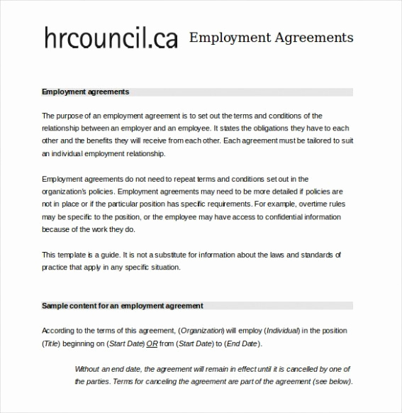 Employment Contract Template Word Awesome Employment Contract Template Word Image – 7 Employment