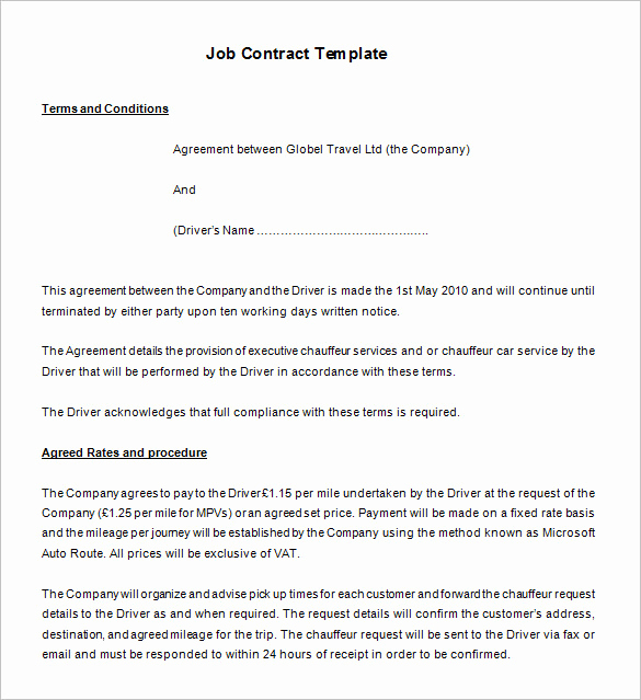 Employment Contract Template Word Beautiful 18 Job Contract Templates Word Pages Docs