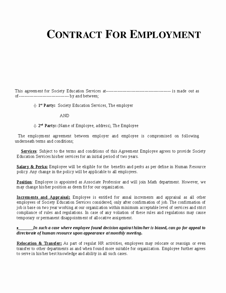 Employment Contract Template Word Fresh Example Employment Contract Invitation Templates
