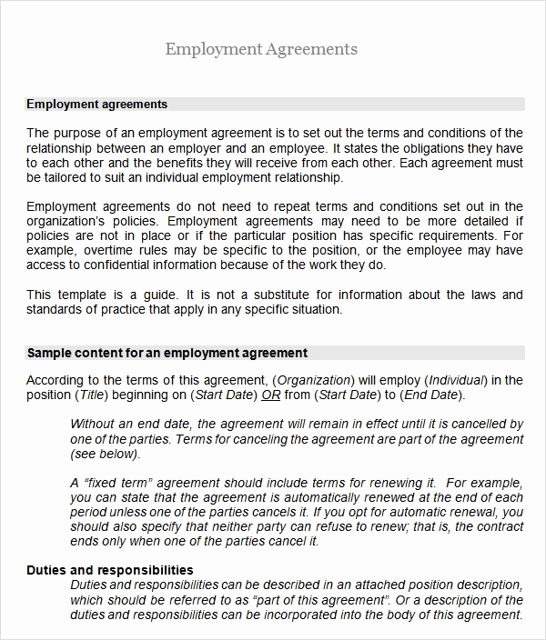 Employment Contract Template Word Luxury Sample Employment Agreement 8 Free Documents Download