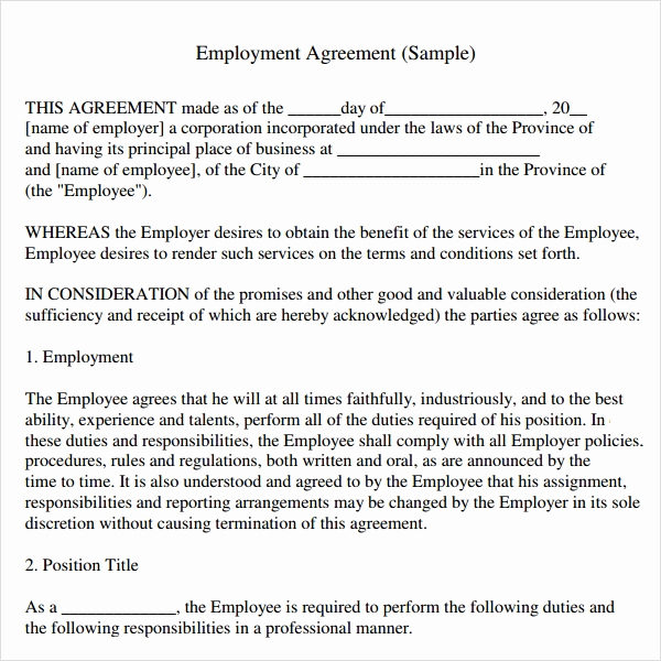 Employment Contract Template Word Unique Sample Employment Agreement 8 Free Documents Download