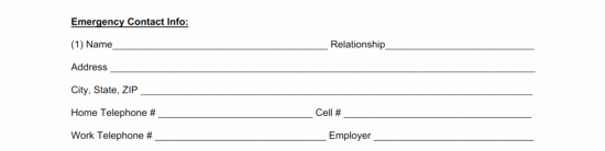 Employment Emergency Contact form Awesome Free Employee Emergency Contact form Pdf Word