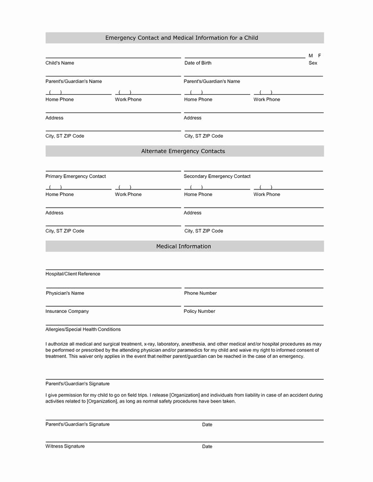 Employment Emergency Contact form Awesome Free Student Information Sheet Template