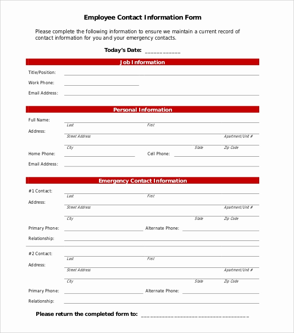 Employment Emergency Contact form Beautiful 11 Sample Employee Information forms