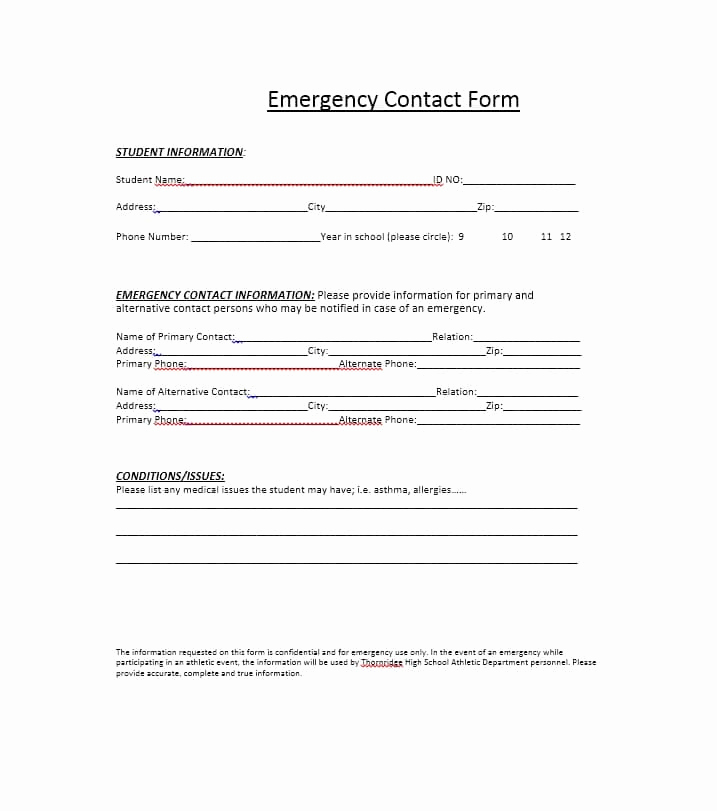 Employment Emergency Contact form Beautiful 54 Free Emergency Contact forms [employee Student]